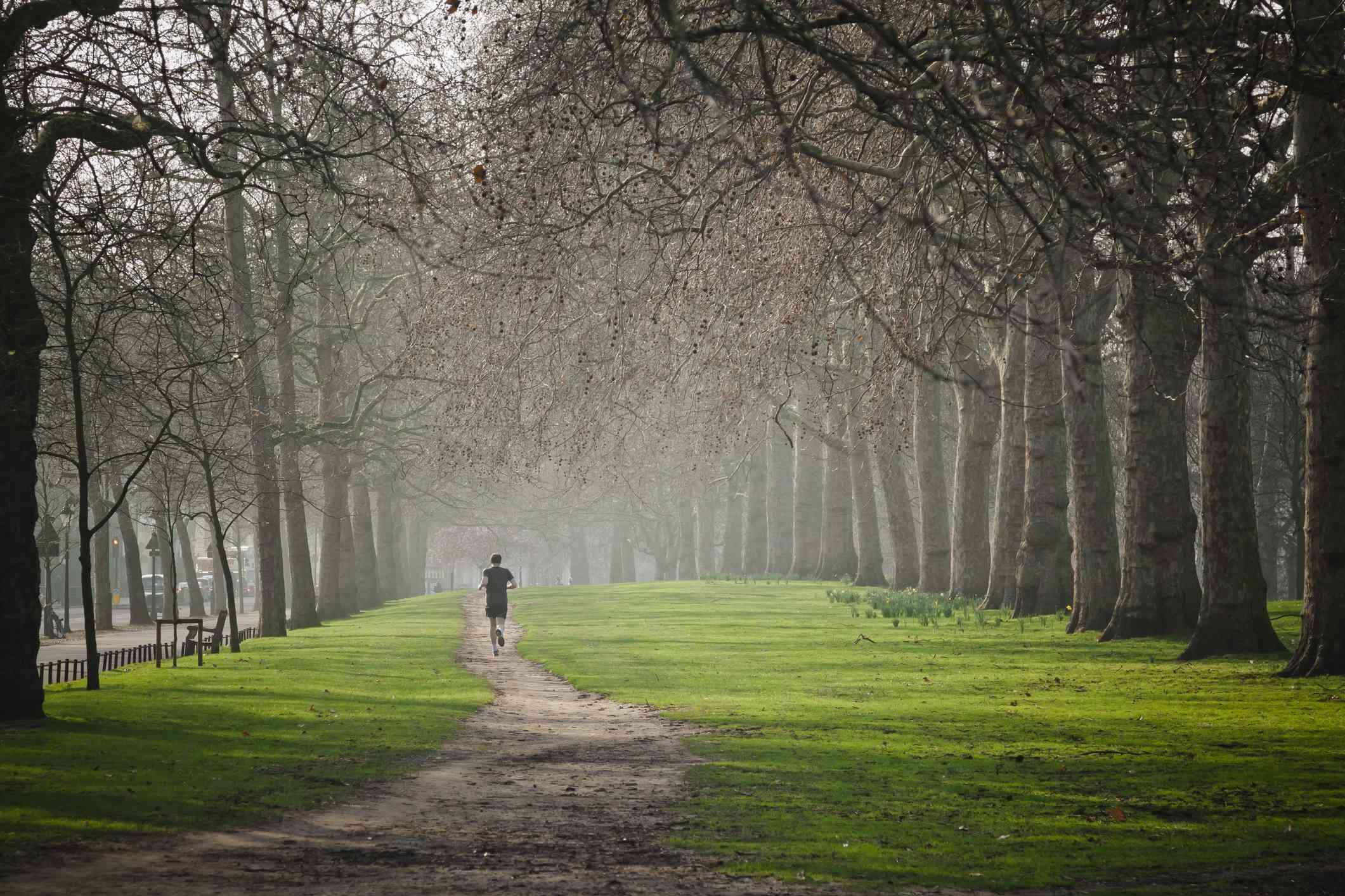 Running in Hyde Park.