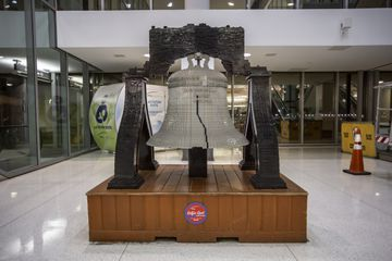 LEGO Liberty Bell replica in Philadelphia International Airport