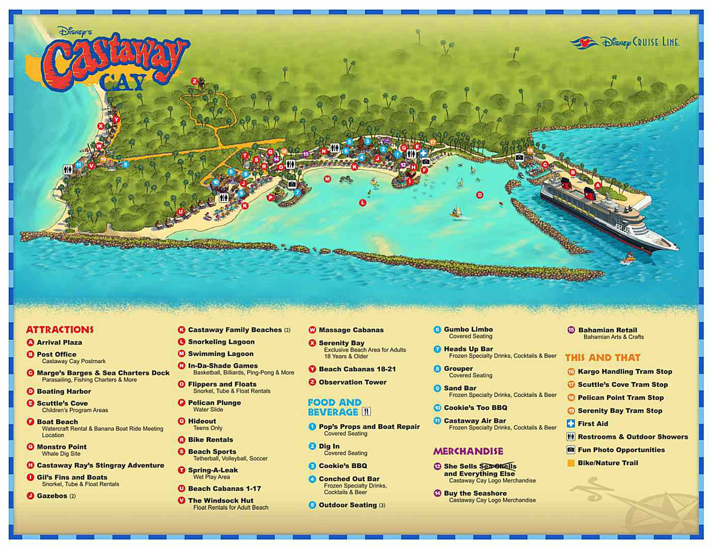 Maps and Information for Disney's Castaway Cay Disney Cruise Map on