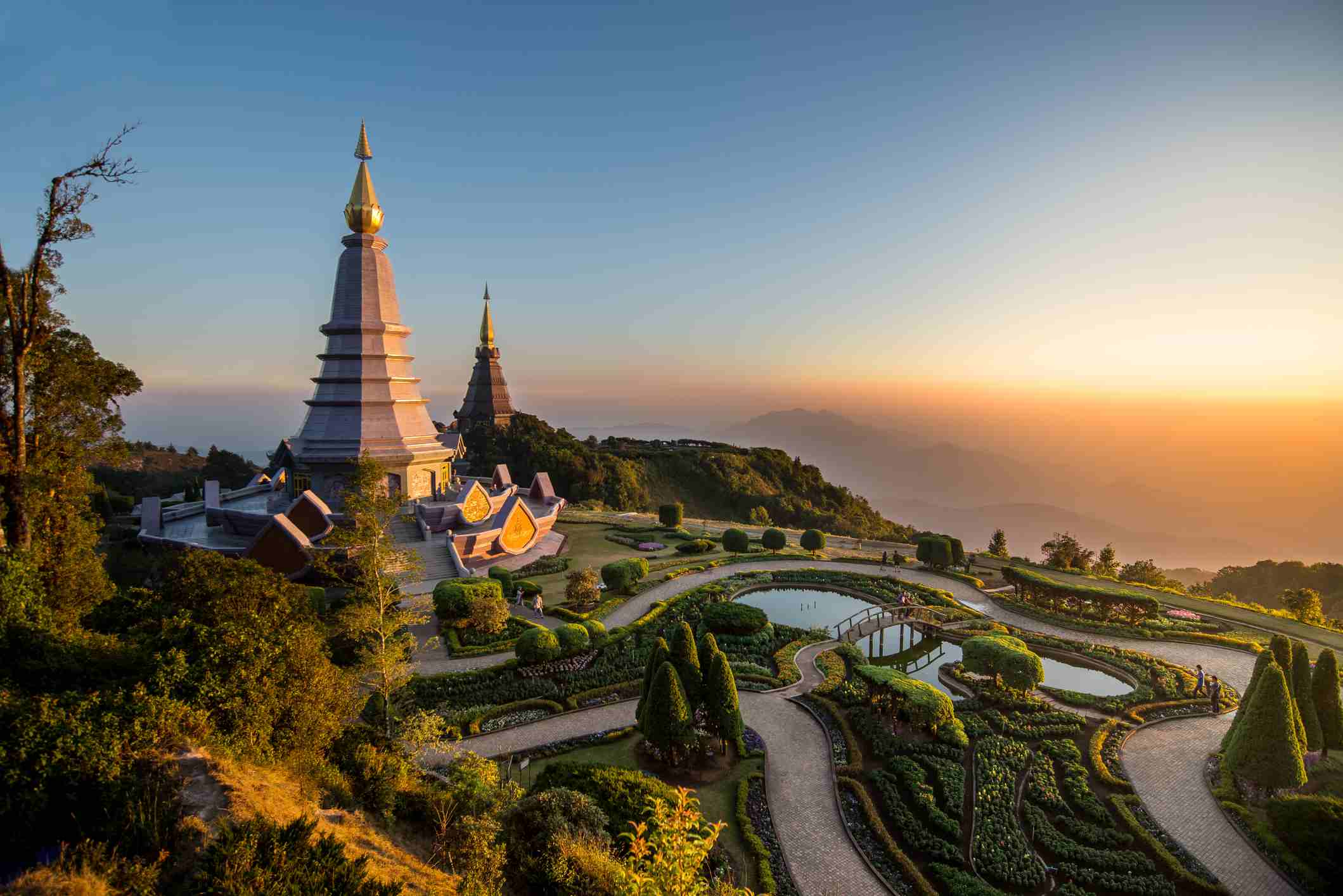 Monastery on top of the mountain in Thailand