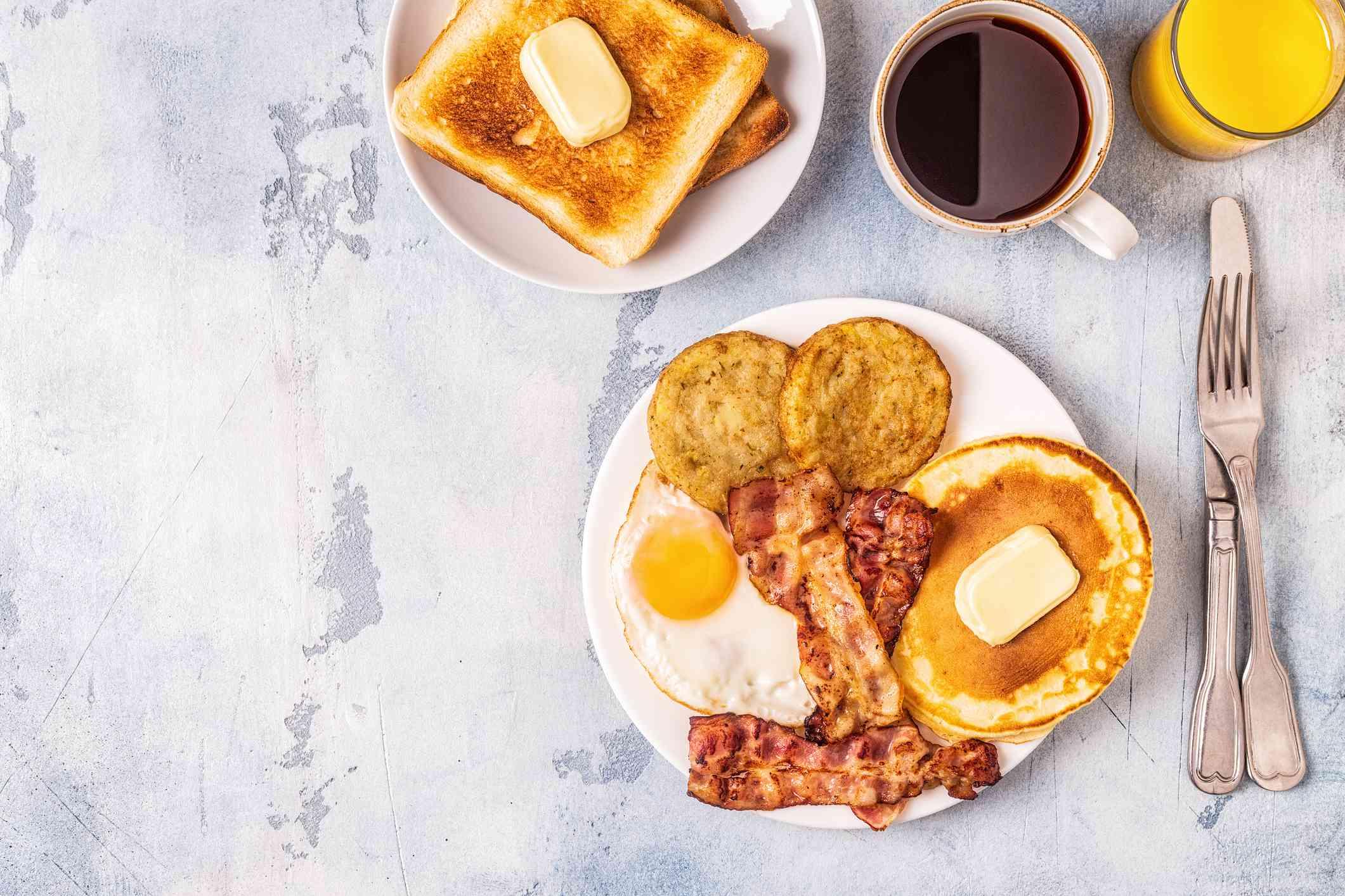 Breakfast food items on table