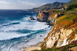 The Pacific Ocean and Santa Lucia Mountains along the coastline in Big Sur, California.