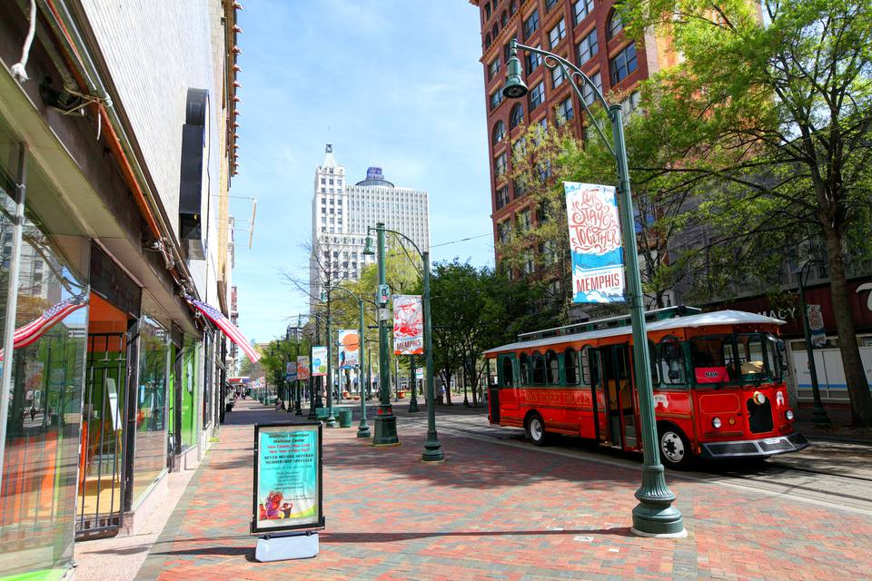 Street scene with trolley in Memphis, Tennessee