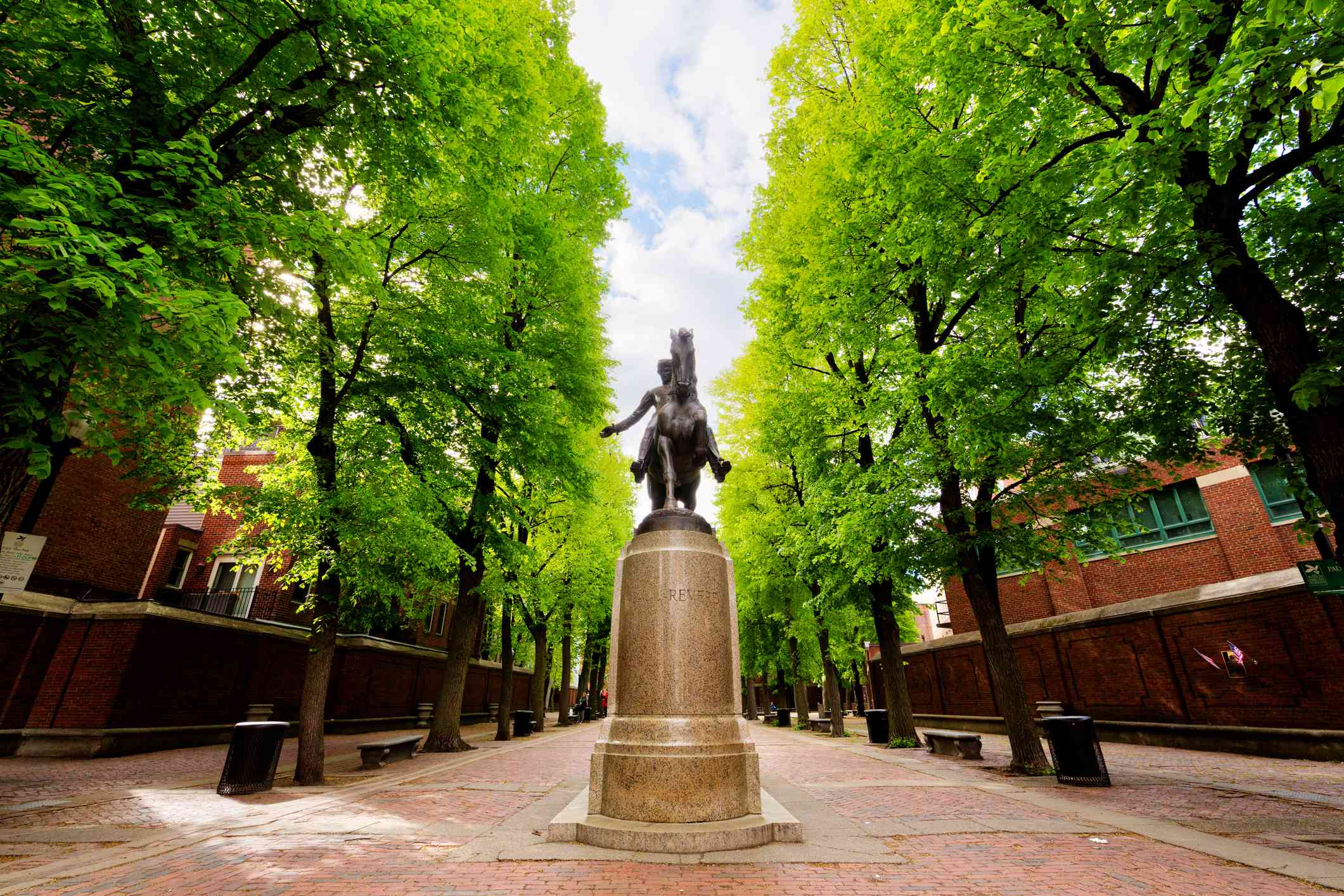 Statue of Paul Revere on horse in center of Paul Revere Mall leading to Old North Church along Freedom Trail, Boston, Massachusetts