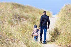 Dad and child on Oregon Dunes