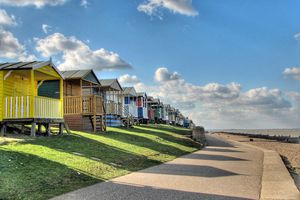 Colorful beach huts in Whitstable.