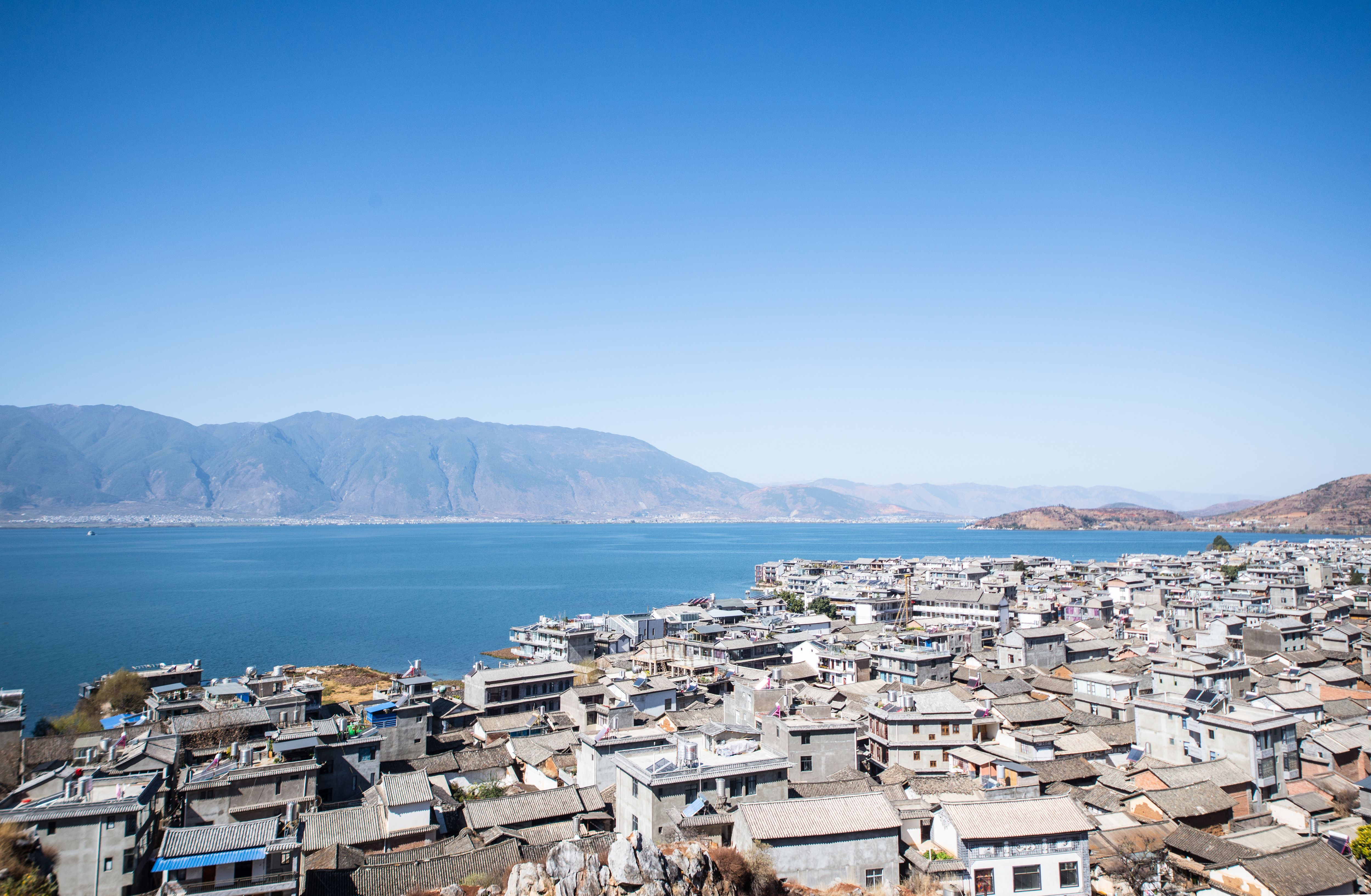 Famous Dali old town and and Erhai lake in Yunnan
