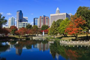 Charlotte Skyline from Marshall Park, North Carolina