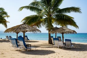 Beach chairs under thatched sun umbrellas ona. beach with palm trees in Ocho Rios