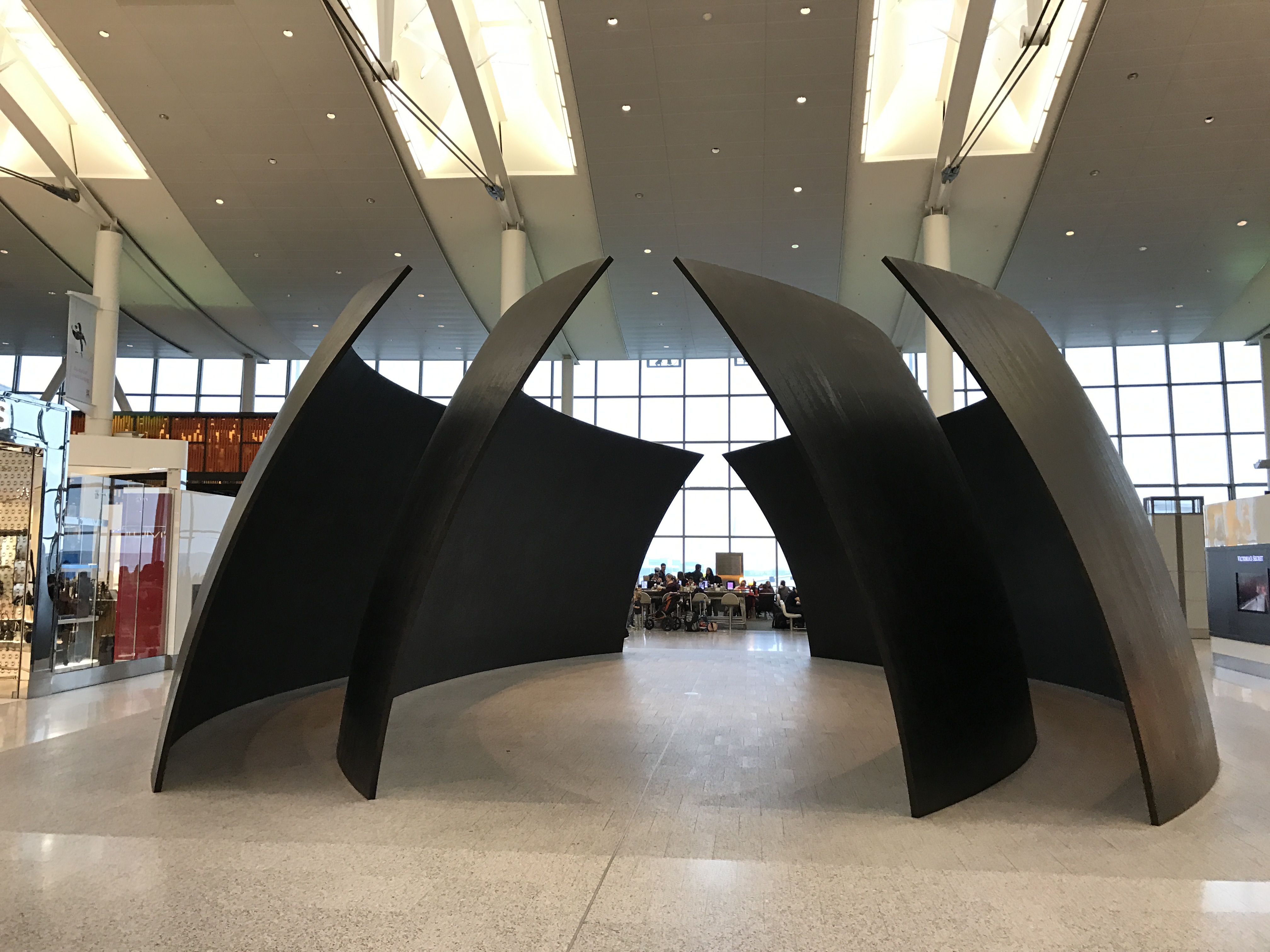 Dramatic sculpture at Toronto Pearson Airport