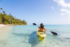kayaking along a beautiful beach
