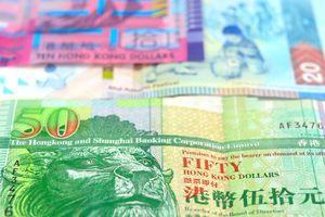 Closeup view of Hong Kong dollar currency notes.