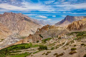 Dhankar gompa. Spiti Valley, Himachal Pradesh, India