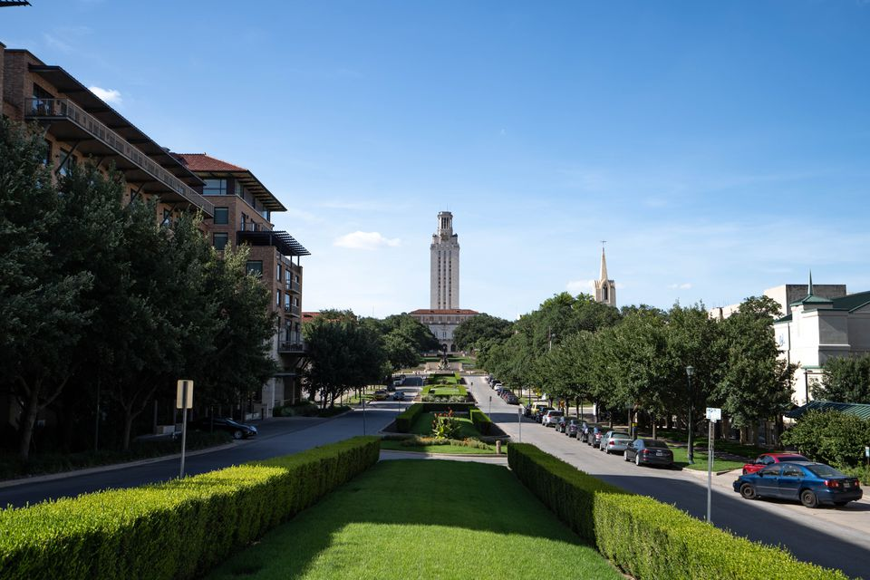 View of the road that leads up to the UT Tower