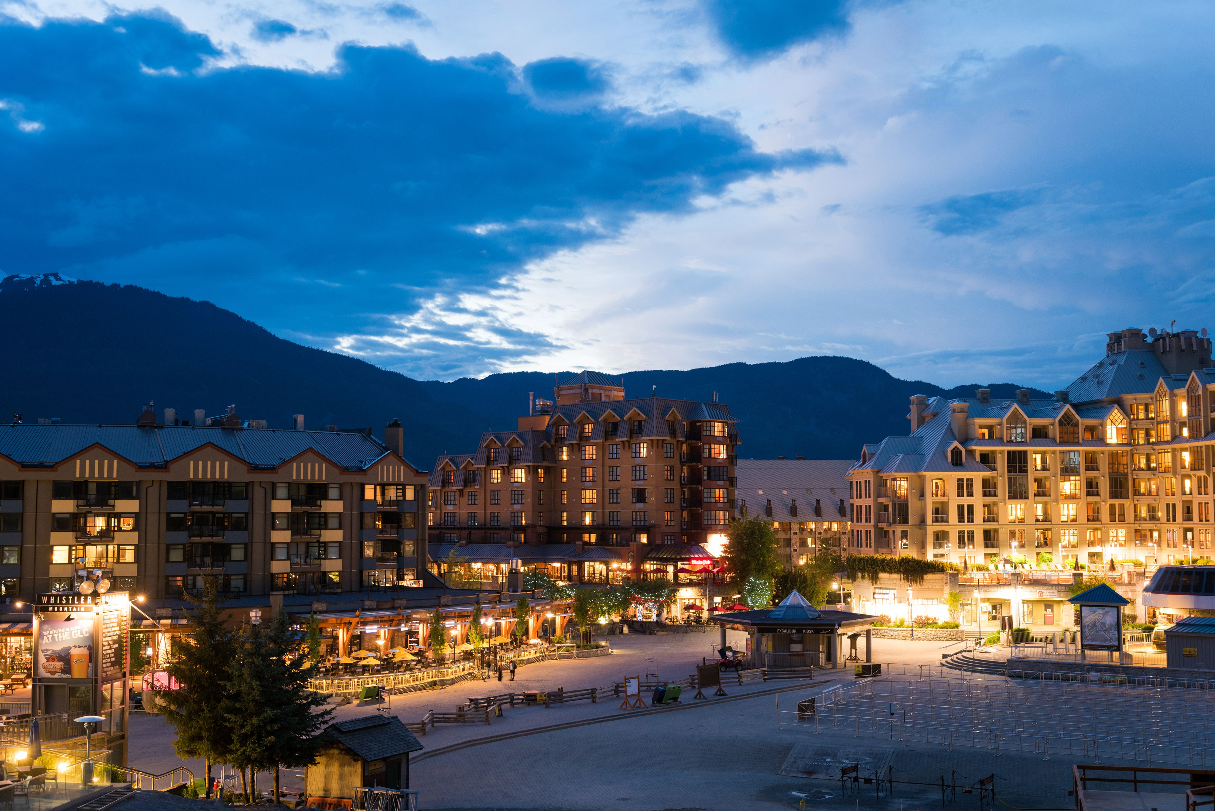 The hotels and resorts of Whistler at dusk