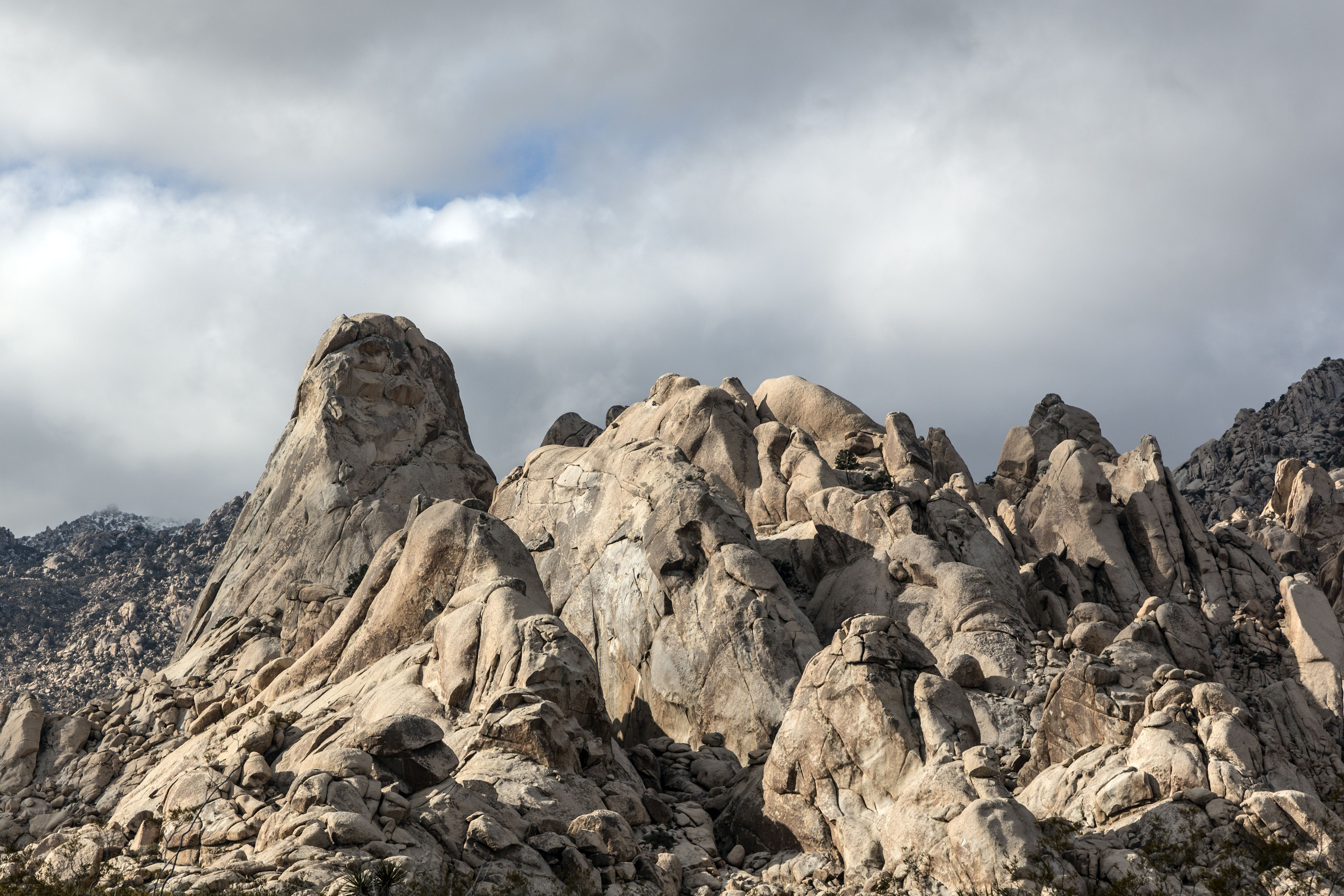 A close-up view of jagged rock formations at the pinnacle of Castle Crags State Park, in Shasta-Trin