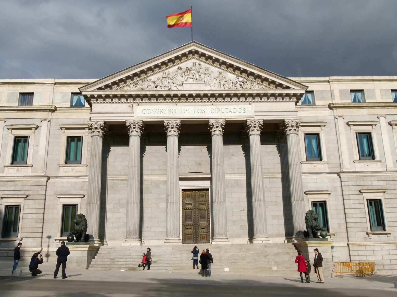 Façade of the Congreso de los Diputados building in Madrid, Spain