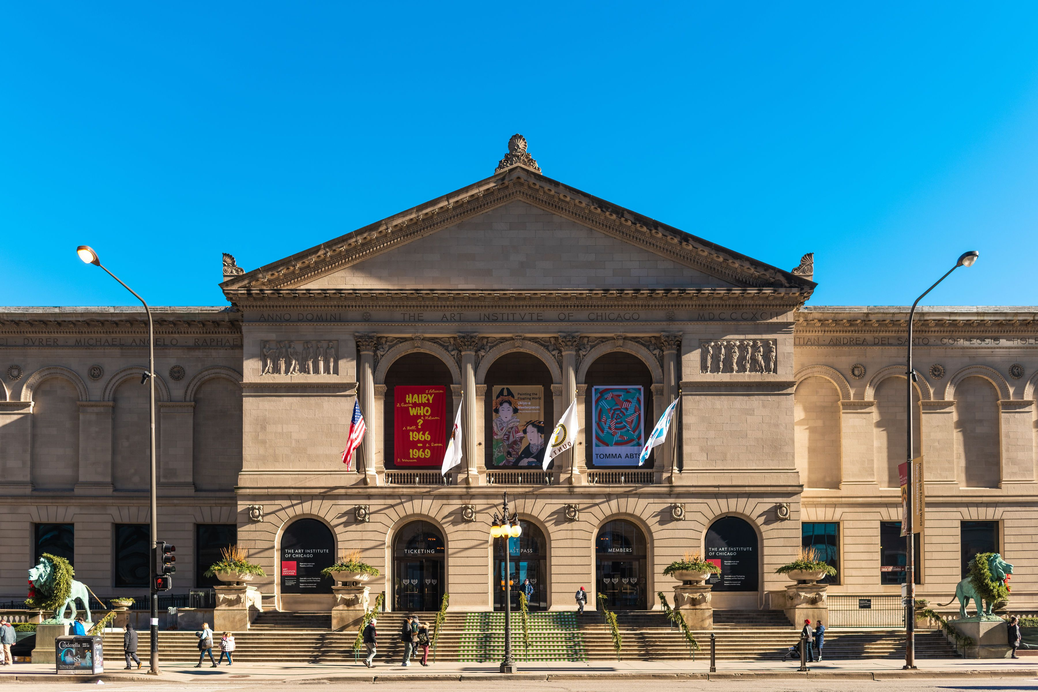 Exterior of the art institute of Chicago on a cloudless day