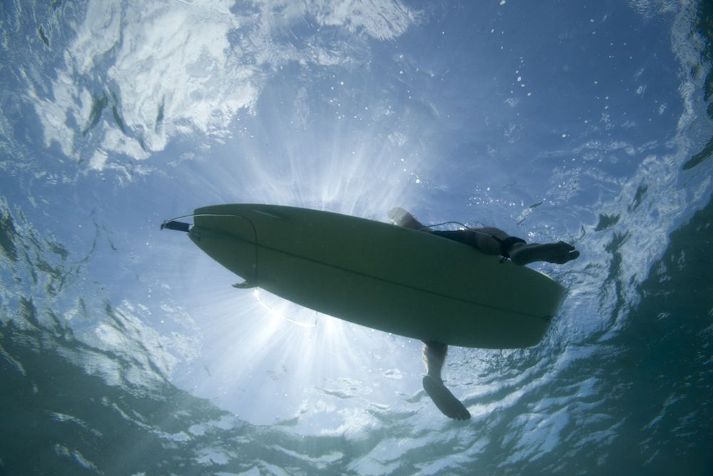 underwater view of a surfboard