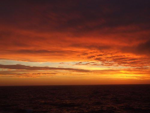 Celebrity Infinity - Sunset Over the Atlantic Ocean Off South America