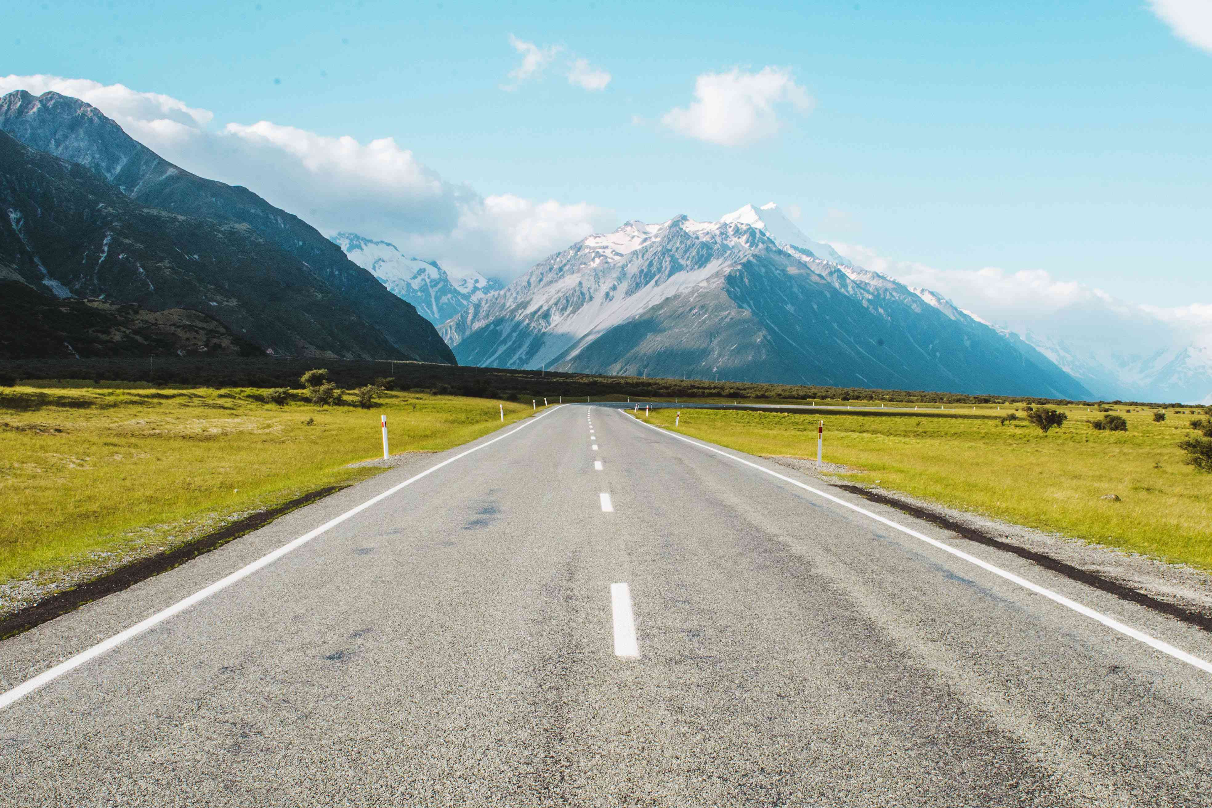 Empty road heading to Mt Cook