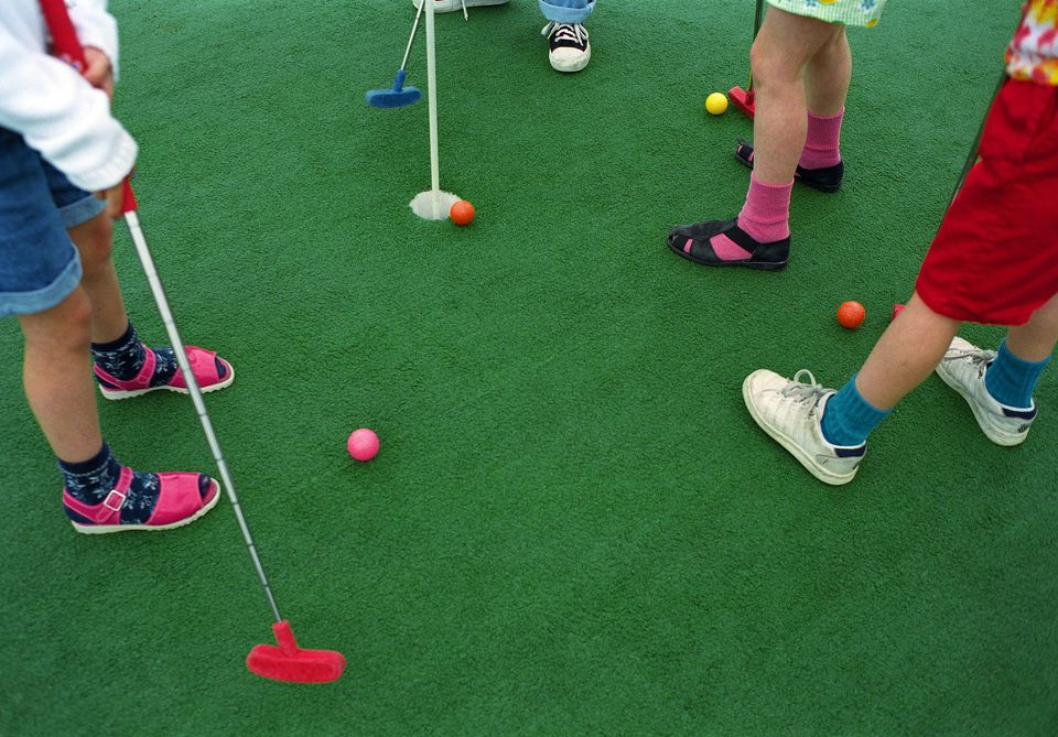 Children Playing Miniature Golf Low Section