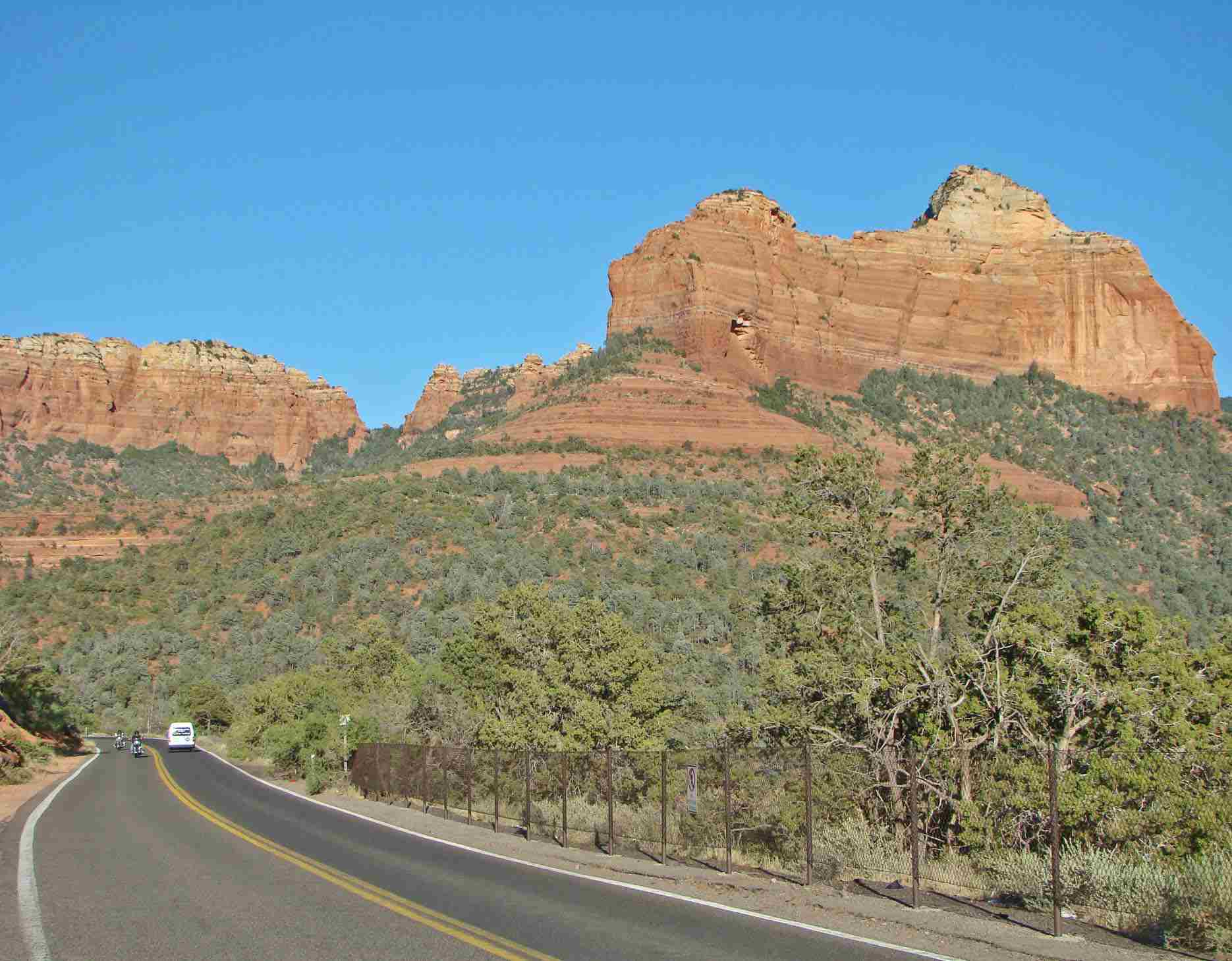 Travelers enjoy the sights along scenic Arizona Route 89A.