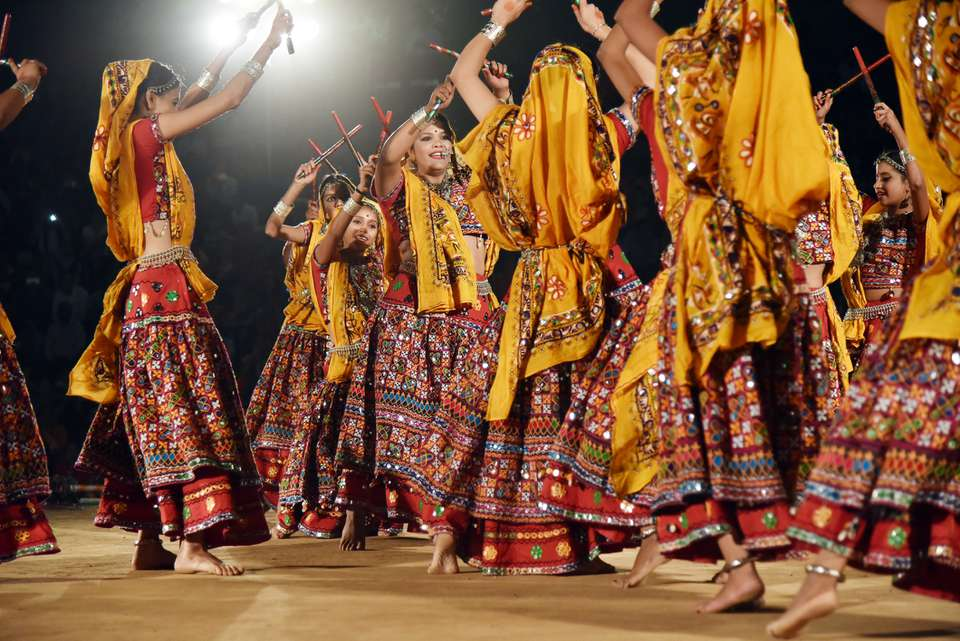 People dancing during Navaratri.