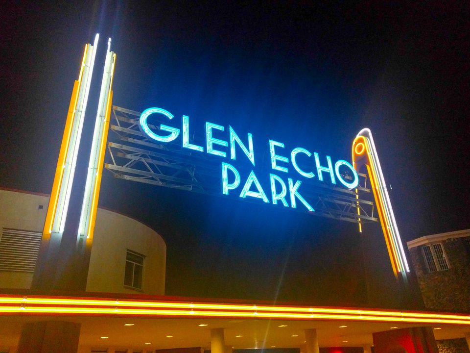 The neon lights of the Glen Echo Park sign at night