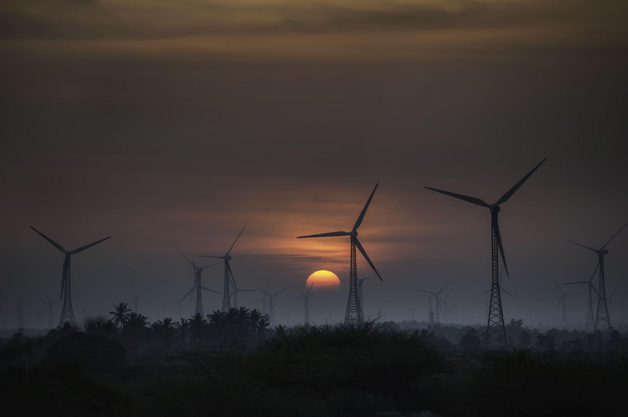 Wind turbines at sunset, Kanyakumari, India