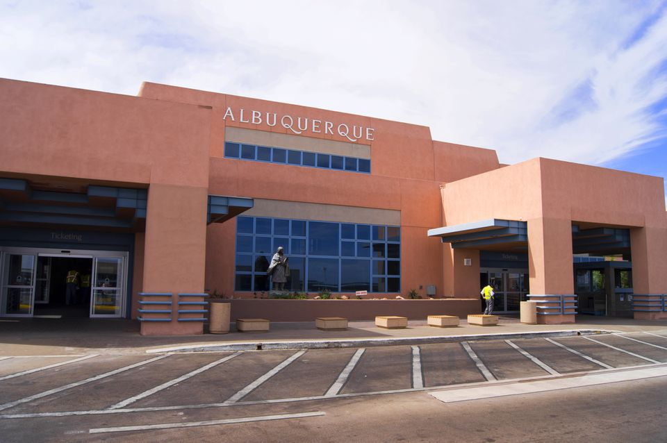 The terminal building at Albuquerque International Sunport airport in Albuquerque, New Mexico.