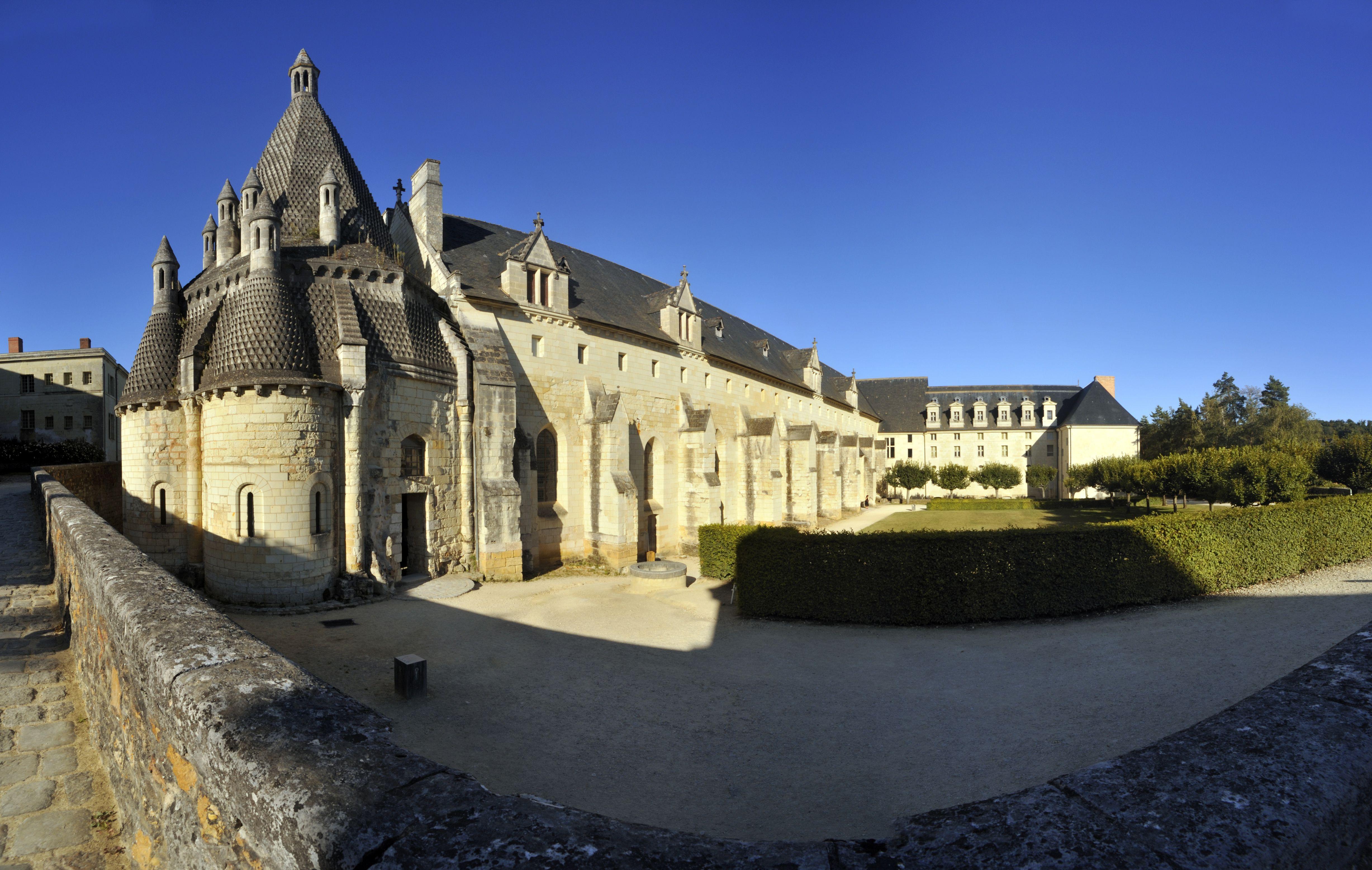 France, Maine et Loire, Loire Valley, Fontevraud Abbey against blue sky