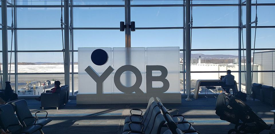 YQB sign at Quebec City Airport