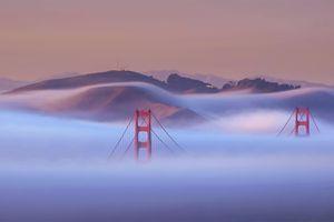 Golden Gate bridge under the june fog