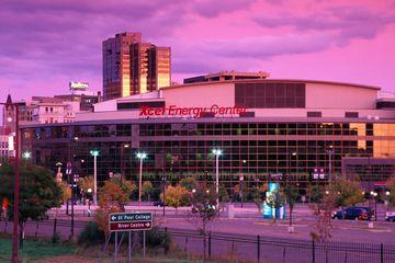 Xcel Energy Center Arena at dusk.