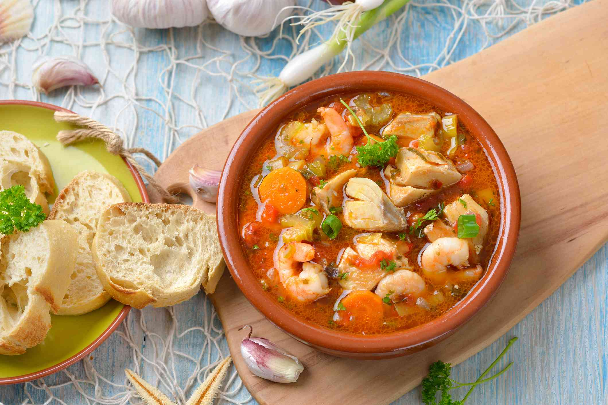 Bouillabaisse, fish stew traditional to Marseille, France