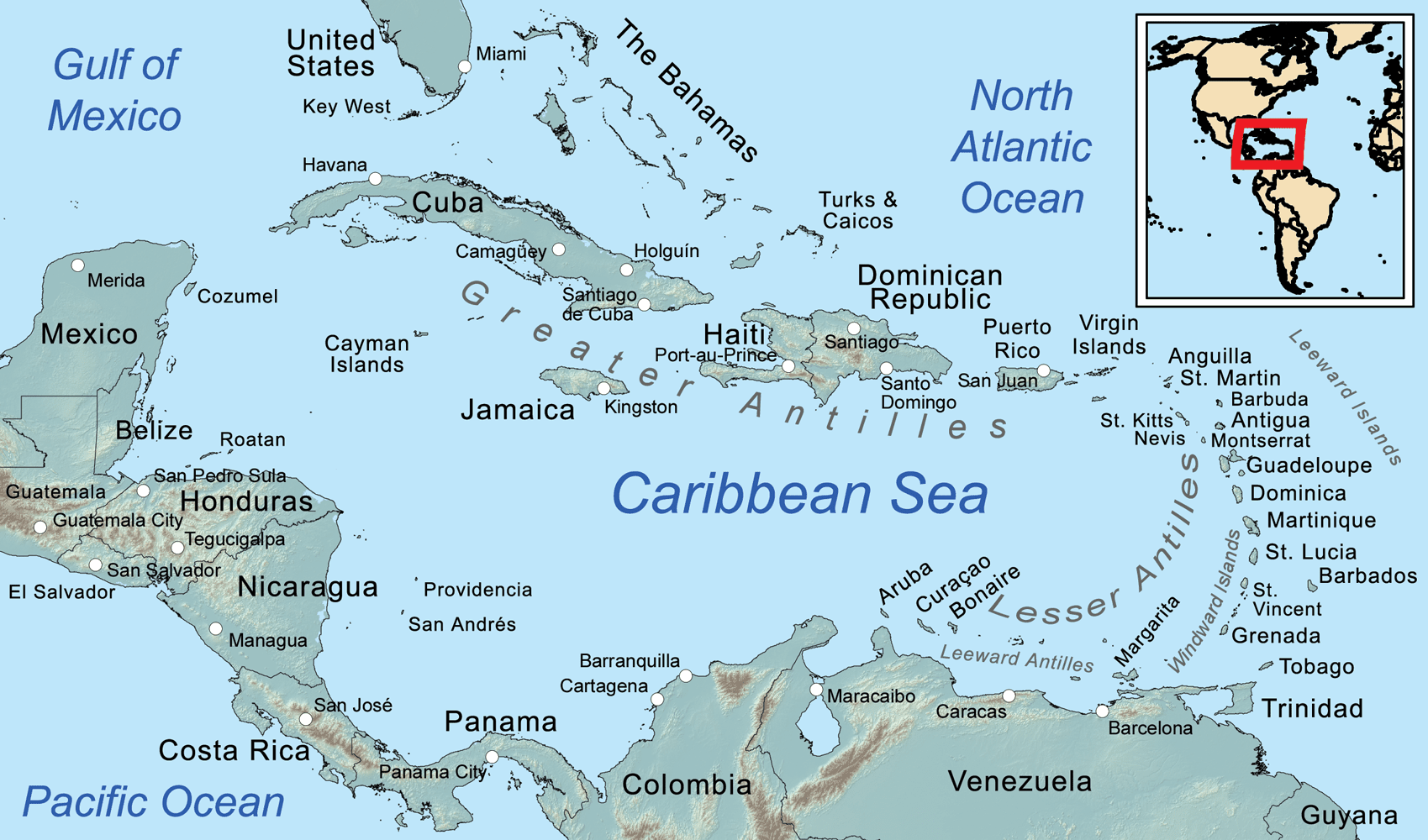 Map Of Caribean Comprehensive Map of the Caribbean Sea and Islands