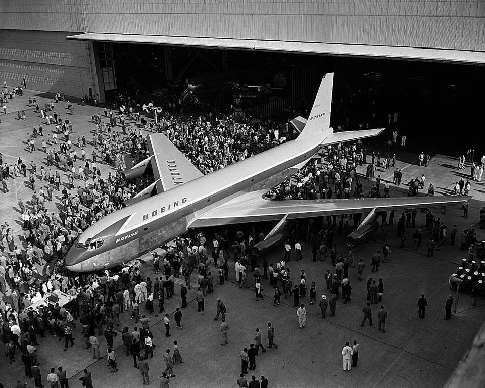 The rollout of the Boeing 707 jet