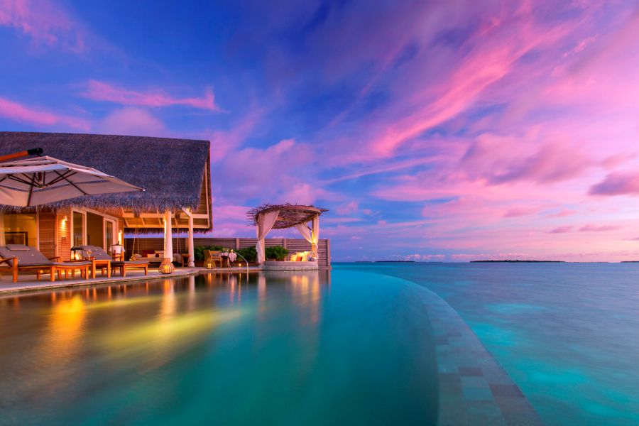 Sunset over Milaidhoo Island in the Maldives