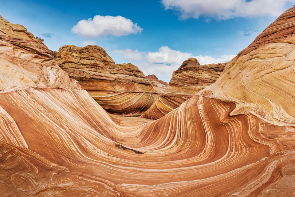 The Wave rock formation, panorama in Coyote Buttes north, Vermillion Cliffs, Arizona.