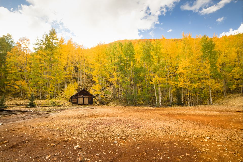 Autumn log cabin in Colorado