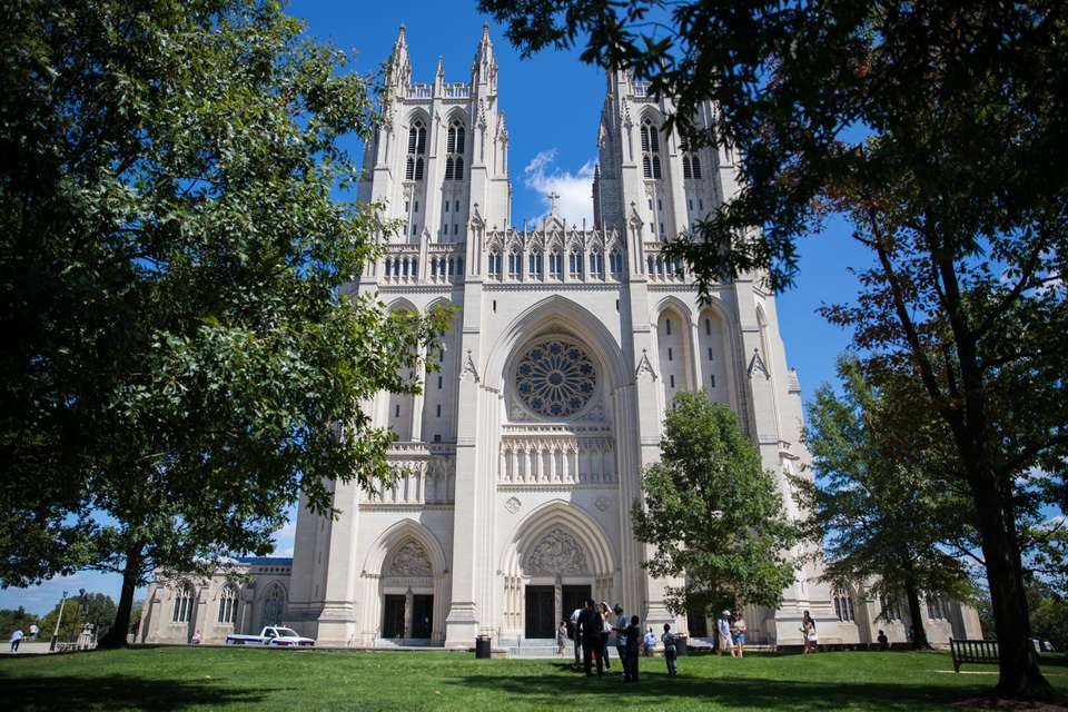 The entrance of the National Cathedral in DC