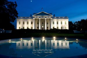 The White House and reflection pool at night, Washington, D.C.