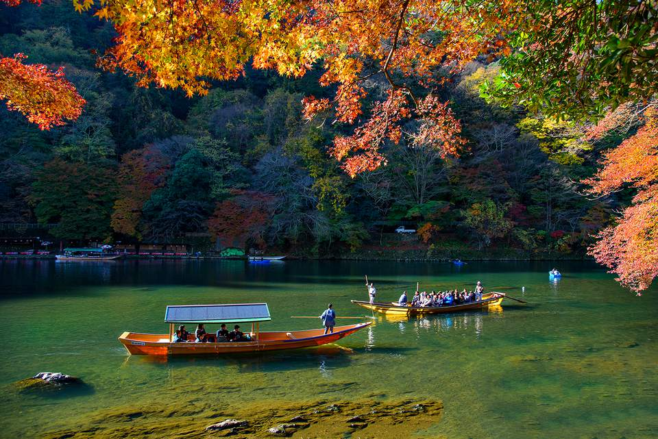 Los barcos turísticos corren a lo largo del río Hozugawa en la mañana de otoño