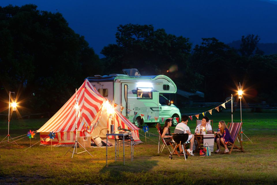 glamping with a camp site and camper