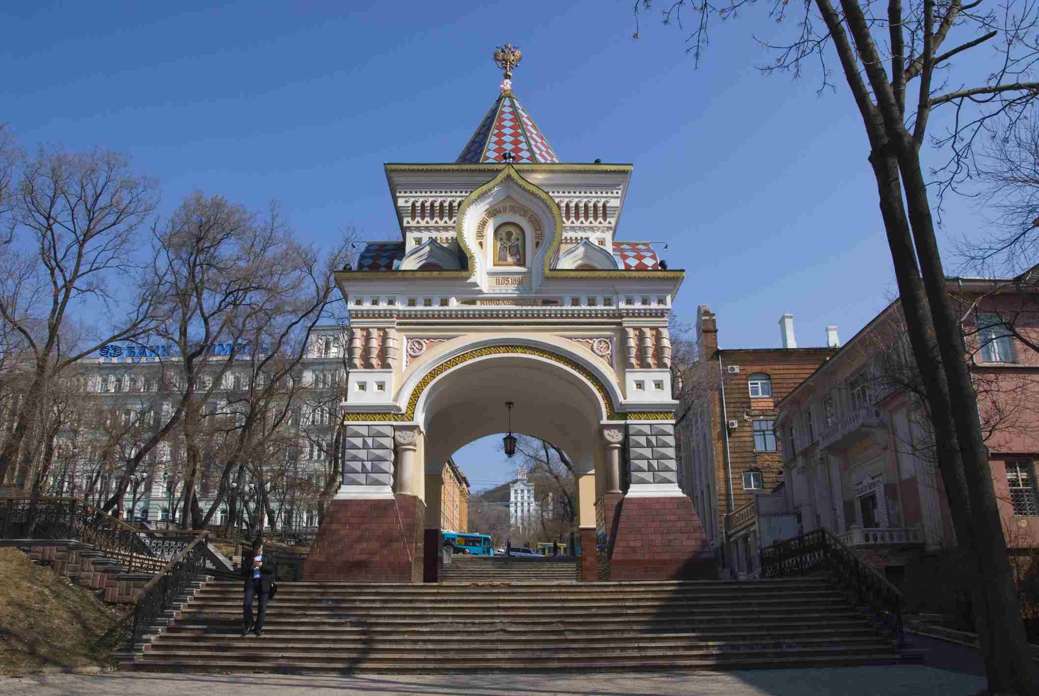Reconstructed Triumphal Arch built for Tsar Nicholas II.