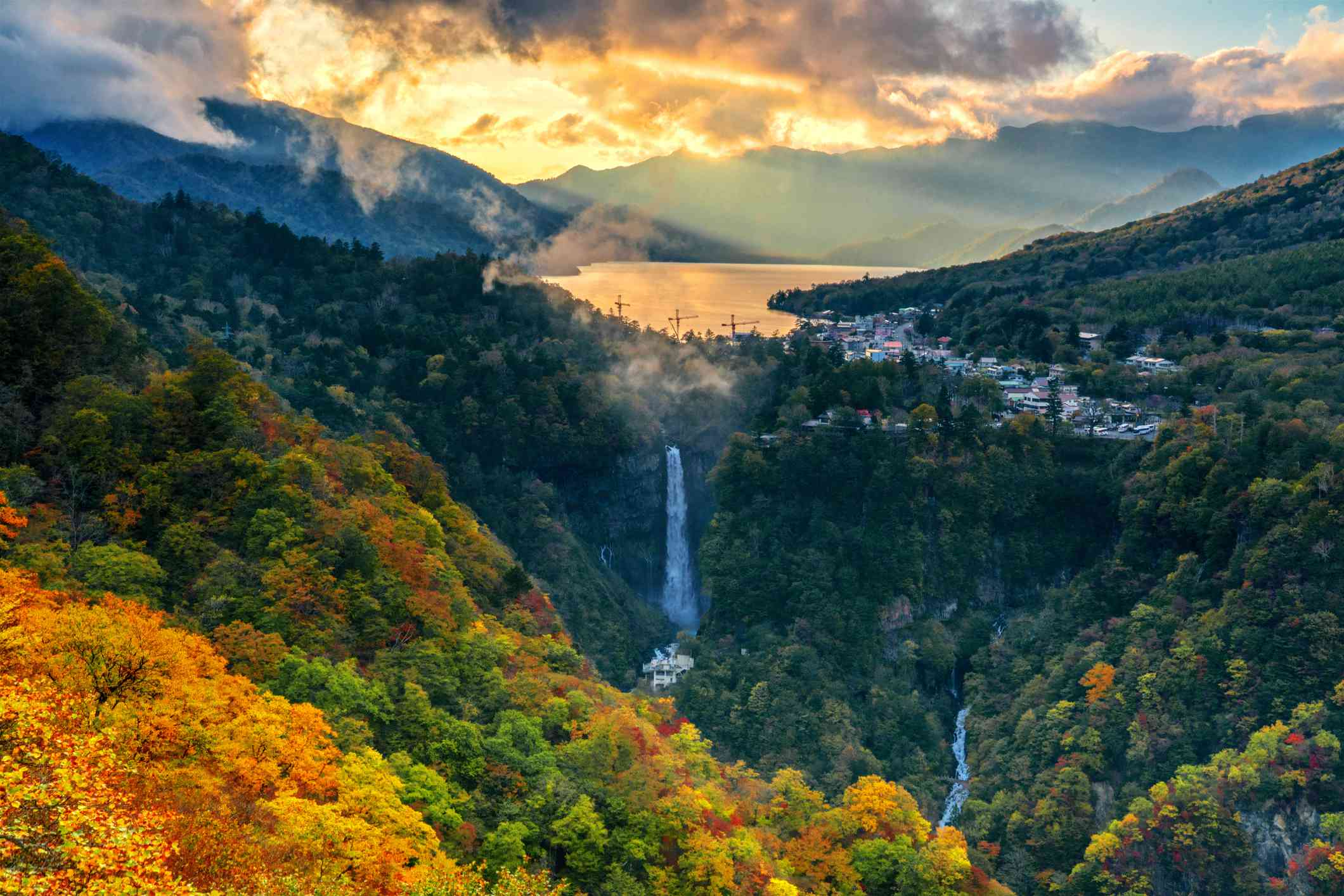 View from observatory area of Nikko shown the overall panoramic perspective of Nikko National Park with famous falls and lake Chuzenji during autumn season