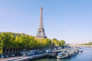 Eiffel over the Seine river during spring time