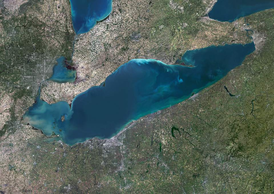 Color satellite image of Lake Erie, North America. Image collected on May 1, 2016 by Landsat 8 satellite.
