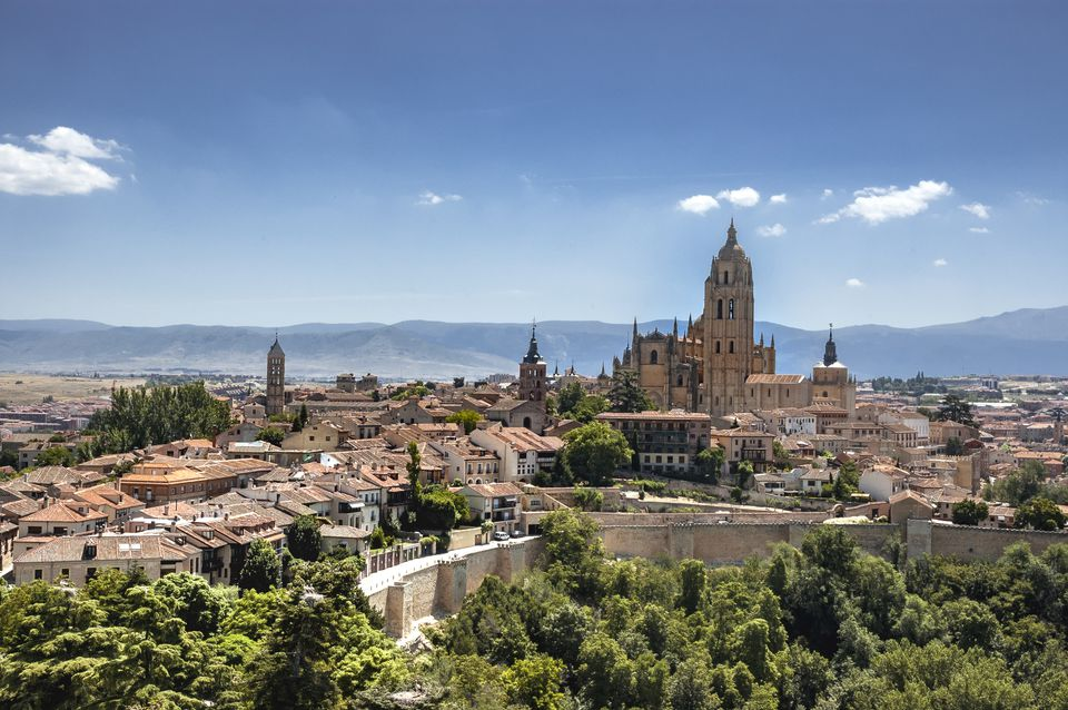 Panoramic view of the historic center of Segovia from the Alcazar, Segovia, Spain